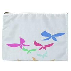 Colorful Butterfly Blue Red Pink Brown Fly Leaf Animals Cosmetic Bag (XXL)