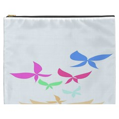 Colorful Butterfly Blue Red Pink Brown Fly Leaf Animals Cosmetic Bag (XXXL)