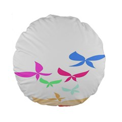 Colorful Butterfly Blue Red Pink Brown Fly Leaf Animals Standard 15  Premium Round Cushions