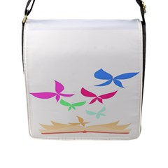 Colorful Butterfly Blue Red Pink Brown Fly Leaf Animals Flap Messenger Bag (L)