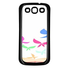 Colorful Butterfly Blue Red Pink Brown Fly Leaf Animals Samsung Galaxy S3 Back Case (Black)