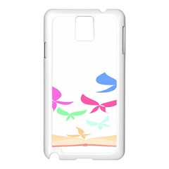 Colorful Butterfly Blue Red Pink Brown Fly Leaf Animals Samsung Galaxy Note 3 N9005 Case (White)