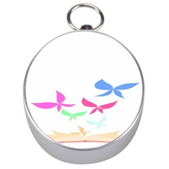 Colorful Butterfly Blue Red Pink Brown Fly Leaf Animals Silver Compasses