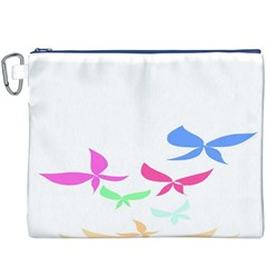 Colorful Butterfly Blue Red Pink Brown Fly Leaf Animals Canvas Cosmetic Bag (XXXL)