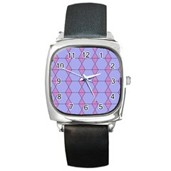 Demiregular Purple Line Triangle Square Metal Watch