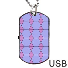 Demiregular Purple Line Triangle Dog Tag USB Flash (One Side)