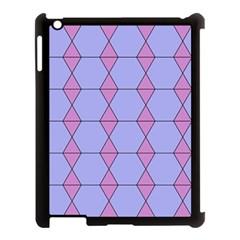 Demiregular Purple Line Triangle Apple iPad 3/4 Case (Black)