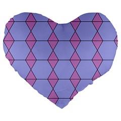 Demiregular Purple Line Triangle Large 19  Premium Heart Shape Cushions