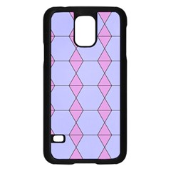 Demiregular Purple Line Triangle Samsung Galaxy S5 Case (Black)