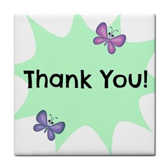 Colorful Butterfly Thank You Animals Fly White Green Tile Coasters