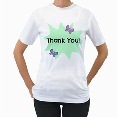 Colorful Butterfly Thank You Animals Fly White Green Women s T Shirt (white) (two Sided)