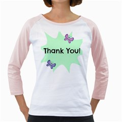 Colorful Butterfly Thank You Animals Fly White Green Girly Raglans