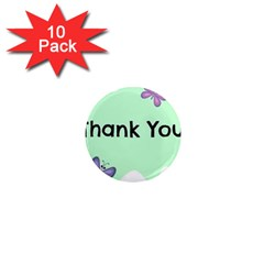 Colorful Butterfly Thank You Animals Fly White Green 1  Mini Magnet (10 Pack)