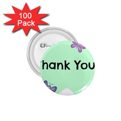 Colorful Butterfly Thank You Animals Fly White Green 1.75  Buttons (100 pack)