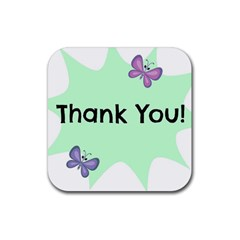 Colorful Butterfly Thank You Animals Fly White Green Rubber Square Coaster (4 pack)
