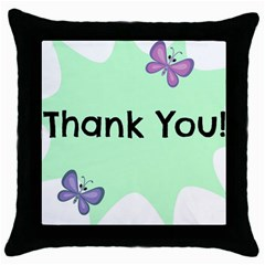 Colorful Butterfly Thank You Animals Fly White Green Throw Pillow Case (black)