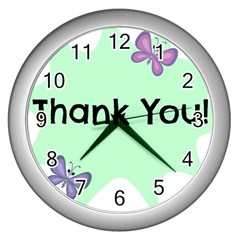 Colorful Butterfly Thank You Animals Fly White Green Wall Clocks (Silver)