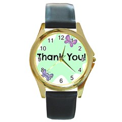 Colorful Butterfly Thank You Animals Fly White Green Round Gold Metal Watch