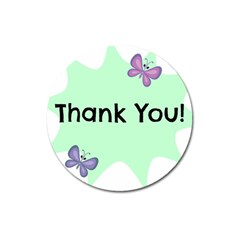 Colorful Butterfly Thank You Animals Fly White Green Magnet 3  (Round)