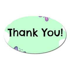 Colorful Butterfly Thank You Animals Fly White Green Oval Magnet