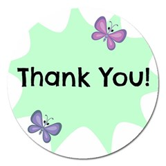 Colorful Butterfly Thank You Animals Fly White Green Magnet 5  (Round)