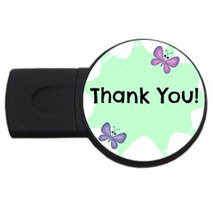 Colorful Butterfly Thank You Animals Fly White Green Usb Flash Drive Round (2 Gb)