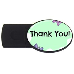 Colorful Butterfly Thank You Animals Fly White Green Usb Flash Drive Oval (2 Gb)
