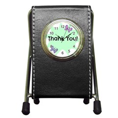 Colorful Butterfly Thank You Animals Fly White Green Pen Holder Desk Clocks