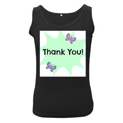 Colorful Butterfly Thank You Animals Fly White Green Women s Black Tank Top