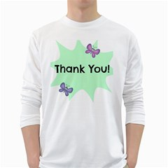 Colorful Butterfly Thank You Animals Fly White Green White Long Sleeve T Shirts