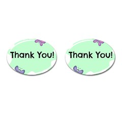 Colorful Butterfly Thank You Animals Fly White Green Cufflinks (oval)