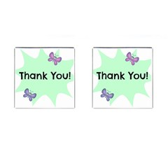 Colorful Butterfly Thank You Animals Fly White Green Cufflinks (square)