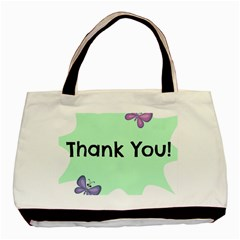 Colorful Butterfly Thank You Animals Fly White Green Basic Tote Bag