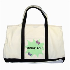 Colorful Butterfly Thank You Animals Fly White Green Two Tone Tote Bag
