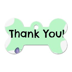 Colorful Butterfly Thank You Animals Fly White Green Dog Tag Bone (Two Sides)