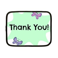 Colorful Butterfly Thank You Animals Fly White Green Netbook Case (Small)