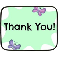 Colorful Butterfly Thank You Animals Fly White Green Fleece Blanket (Mini)