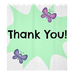 Colorful Butterfly Thank You Animals Fly White Green Shower Curtain 66  x 72  (Large)