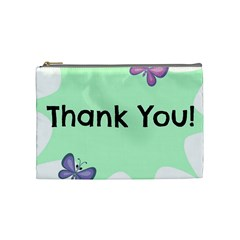 Colorful Butterfly Thank You Animals Fly White Green Cosmetic Bag (Medium)