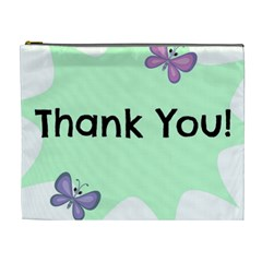 Colorful Butterfly Thank You Animals Fly White Green Cosmetic Bag (XL)