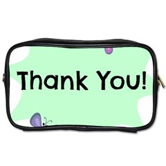 Colorful Butterfly Thank You Animals Fly White Green Toiletries Bags