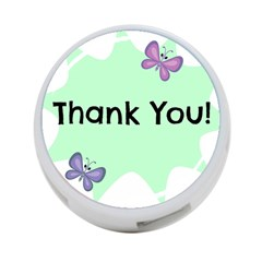 Colorful Butterfly Thank You Animals Fly White Green 4-Port USB Hub (Two Sides)