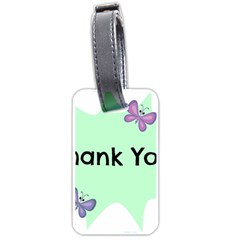 Colorful Butterfly Thank You Animals Fly White Green Luggage Tags (Two Sides)