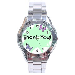 Colorful Butterfly Thank You Animals Fly White Green Stainless Steel Analogue Watch