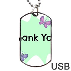 Colorful Butterfly Thank You Animals Fly White Green Dog Tag USB Flash (One Side)