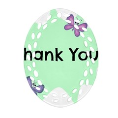 Colorful Butterfly Thank You Animals Fly White Green Ornament (Oval Filigree)