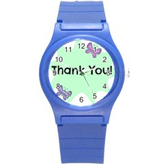 Colorful Butterfly Thank You Animals Fly White Green Round Plastic Sport Watch (S)