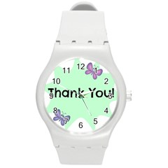 Colorful Butterfly Thank You Animals Fly White Green Round Plastic Sport Watch (M)