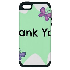 Colorful Butterfly Thank You Animals Fly White Green Apple iPhone 5 Hardshell Case (PC+Silicone)