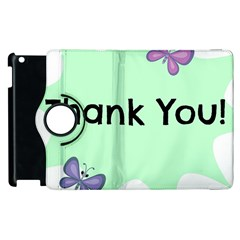 Colorful Butterfly Thank You Animals Fly White Green Apple iPad 3/4 Flip 360 Case